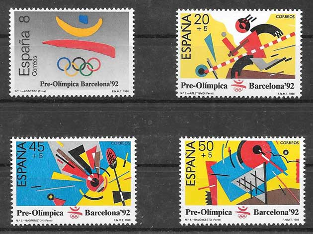 Stamps collection Spain 1988 Barcelona Olympics 92