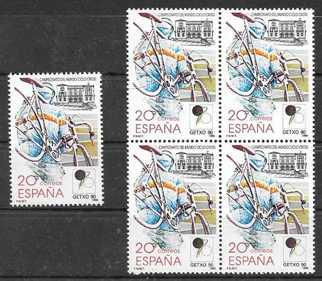 Spain cycling sport philately 1990