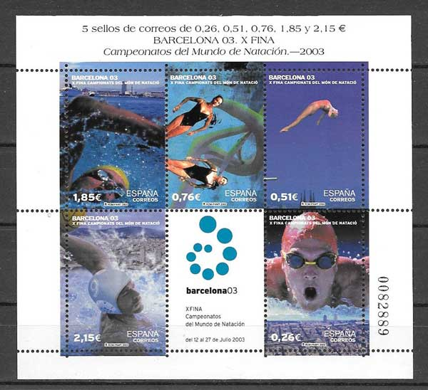 SprigHojita five stamps and a vignette of the 2003 World Swimming Championships