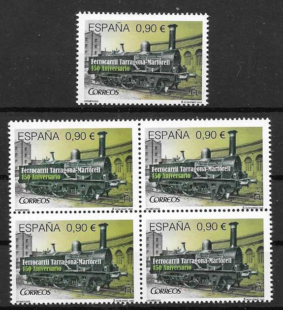 trains stamps Spain 2015