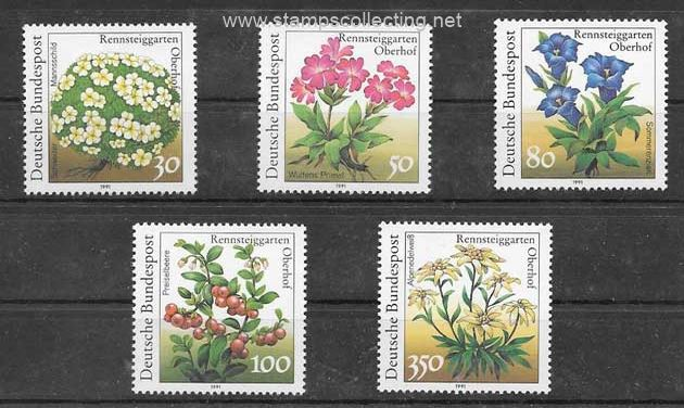 stamps flowers of the Botanical Garden Germany