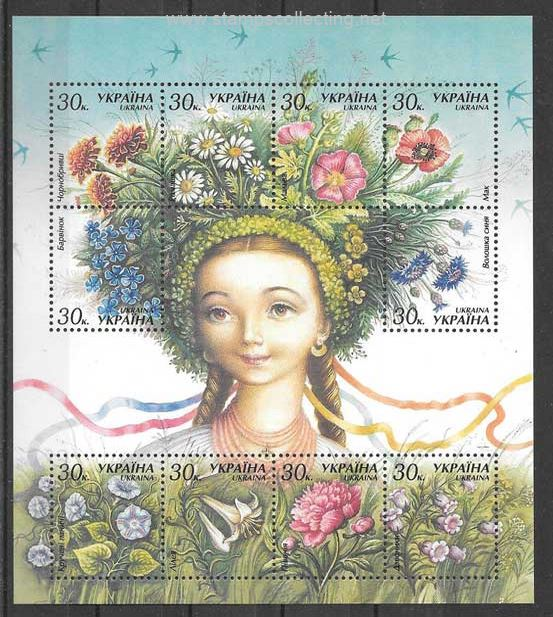 flora of Ukranie en folder stamps