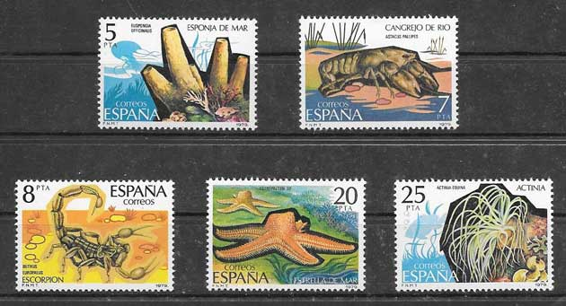 invertebrate wildlife stamps Spain 1979