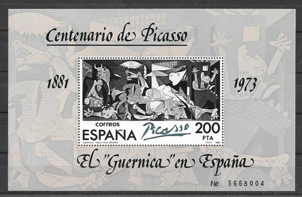 "Stamps Painting by Picasso "" El Guernica"""
