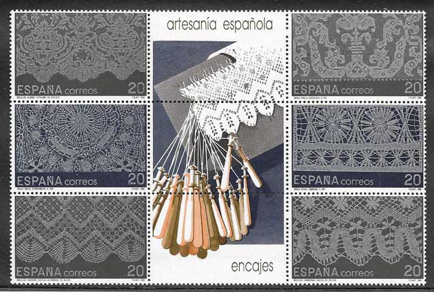 1989 art stamps Spain - embroidery