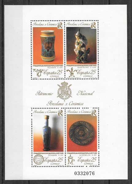 Collecting stamps National Heritage - porcelain and ceramic Spain 1991