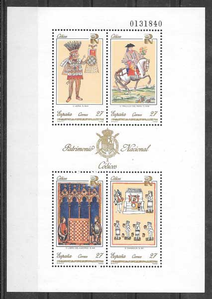 Philately stamps National Heritage - codices Spain 1992