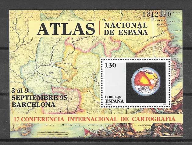 Stamps mapping Spain 1995