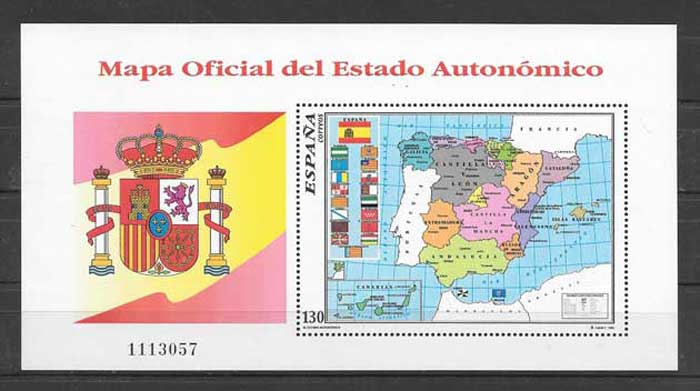 Philately regional map Spain 1996