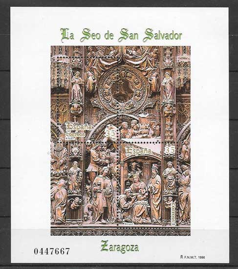 Block sheet of Spanish art - altarpiece 1998