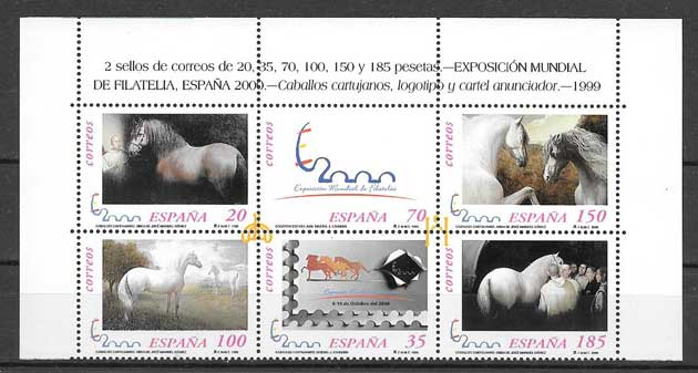 Stamps cartujano horses World Exhibition of Philately Spain 2000