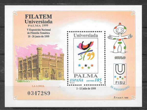Philatelic stamp FILATEM, Universiade 1999 - V National Philatelic Exhibition in Palma de Mallorca