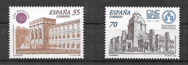 Centenary Stamps University of Lerida and Valencia