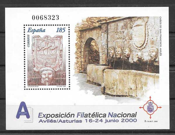 Collectible stamps from the National Philatelic Exhibition in Aviles - Asturias 2000