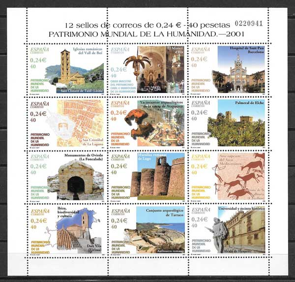 Different stamps World Heritage 2001