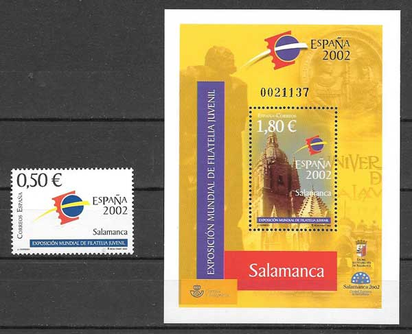 Seal and Bloc World Youth Philately Exhibition 2002 Spain - Salamanca