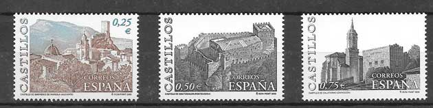 Castles different stamps Spain 2002