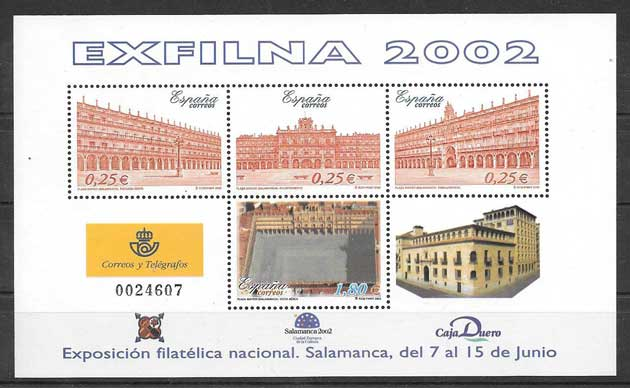 Stamps Spain EXFILNA National Philatelic Exhibition 2002 held in Salamanca