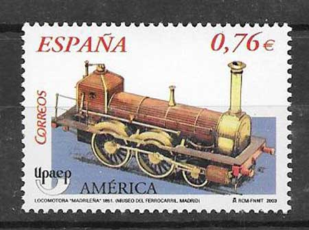 Topic stamp America UPAEP - rail transport