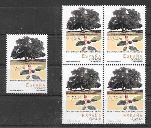 Monumental trees stamps collection Spain 2004