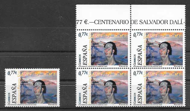 Birth Centenary Stamps Spain Dali 2004
