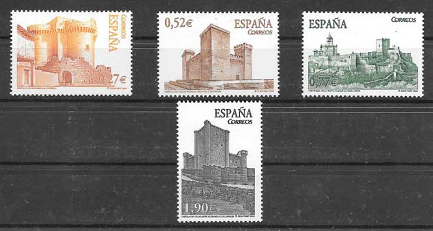 Stamps castles Spain 2004