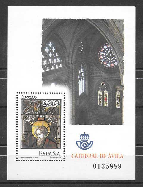2005 Stamps Spain Avila Cathedral stained glass