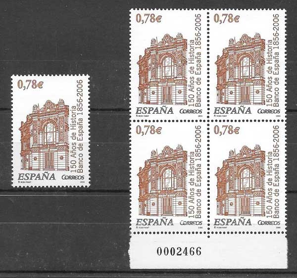 Stamps philately BANK facade Spain