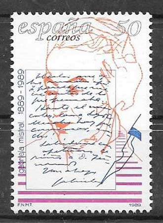 Stamp Collection Spain personality Gabriela Mistral 1989