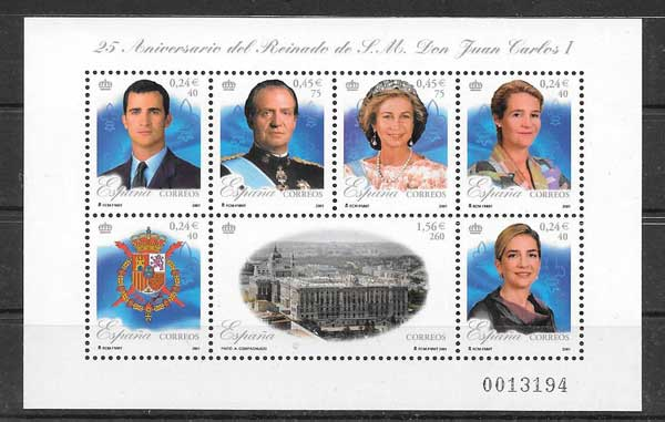 Stamps commemorating the XXV reign of Juan Carlos of Spain