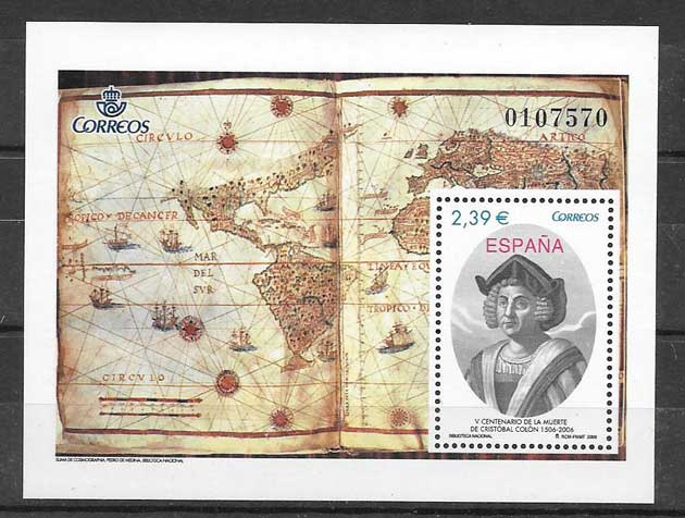 Stamps Spain 2006 Centenary death of Christopher Columbus
