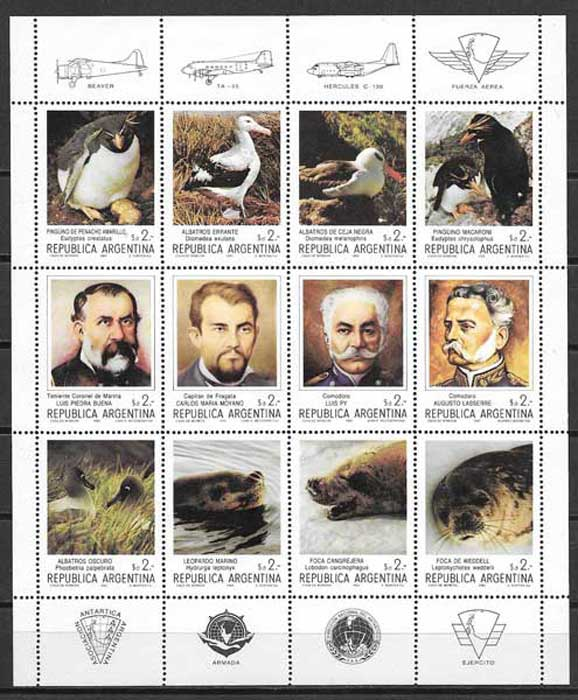 pioneers and wildlife stamps collection Argentina 1983