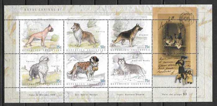 Stamps dog breeds Argentina 1999