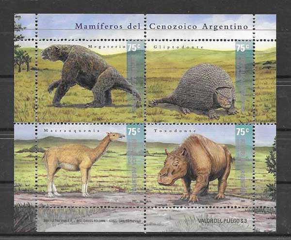Argentina 2001 Stamps prehistoric animals