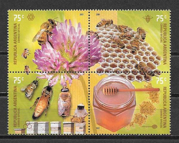 Beekeeping Argentina philately 2001