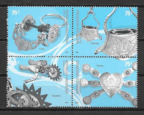 Argentina Creole art philately 2001 silver