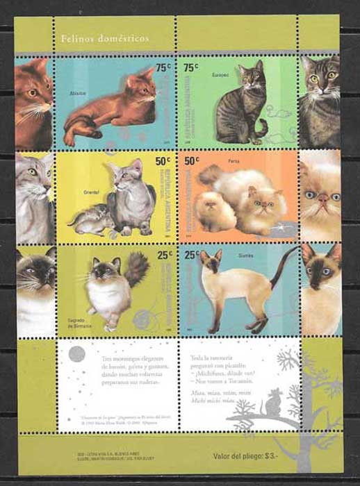 Argentina stamps collection 2005 Cats