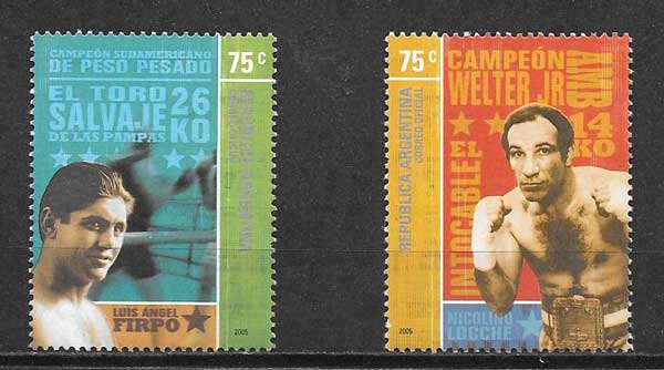 Stamps boxing champions Argentina 2005