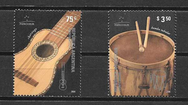 Argentina stamps 2005 musical instruments