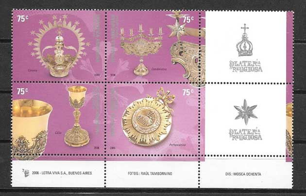 Argentina stamps 2005 religious jewelry