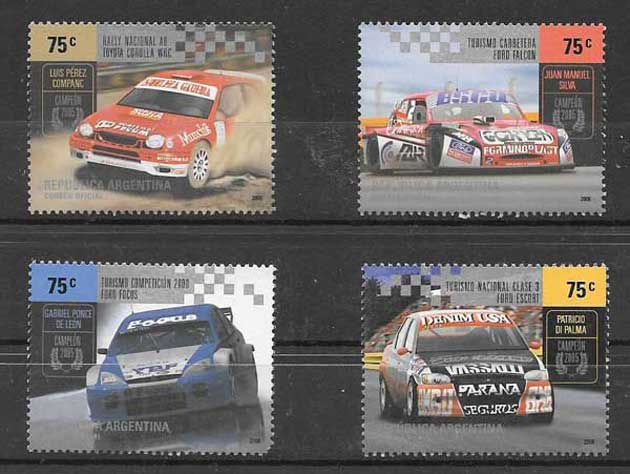 Stamps collection 2005 race cars Argentina