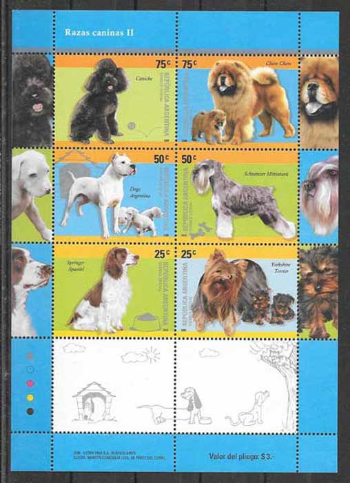 Stamps collection breeds Argentina 2005