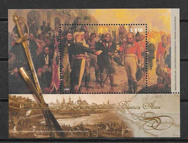 Stamp collection reconquest of Buenos Aires Argentina 2006