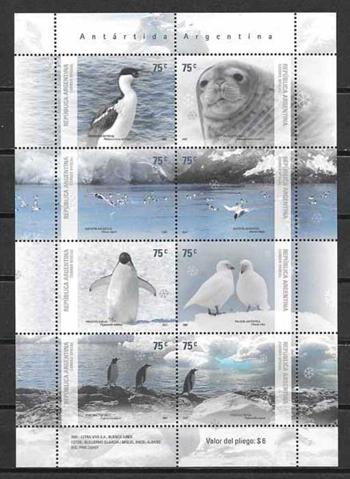 Stamps philately Antarctica - Wildlife