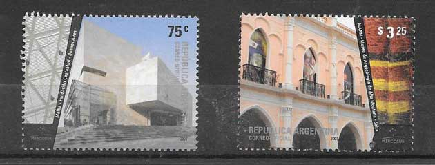 Stamps philately Architecture Argentina 2007