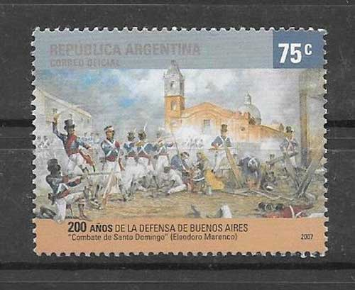 Stamps Argentina 2007 Battle of Santo Domingo
