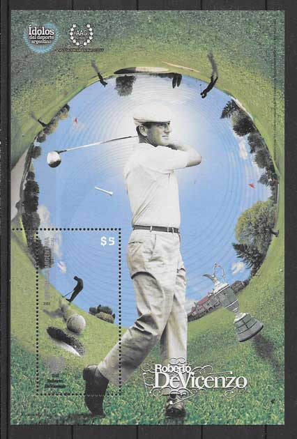 Stamps philately Argentina 2008 sport golf