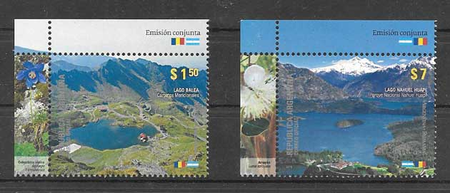 philately collection lakes and mountains Argentina 2010