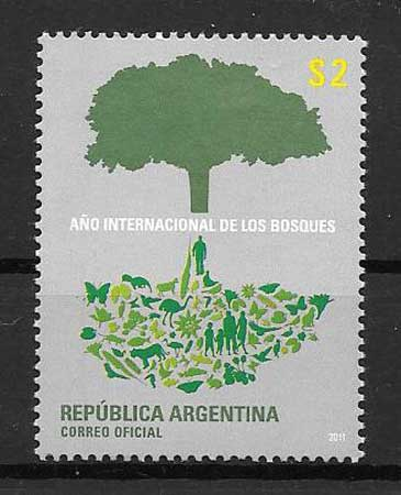 Stamps philately forests Argentina 2010