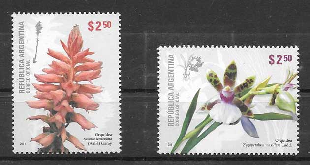 Collection stamps flowers - orchids